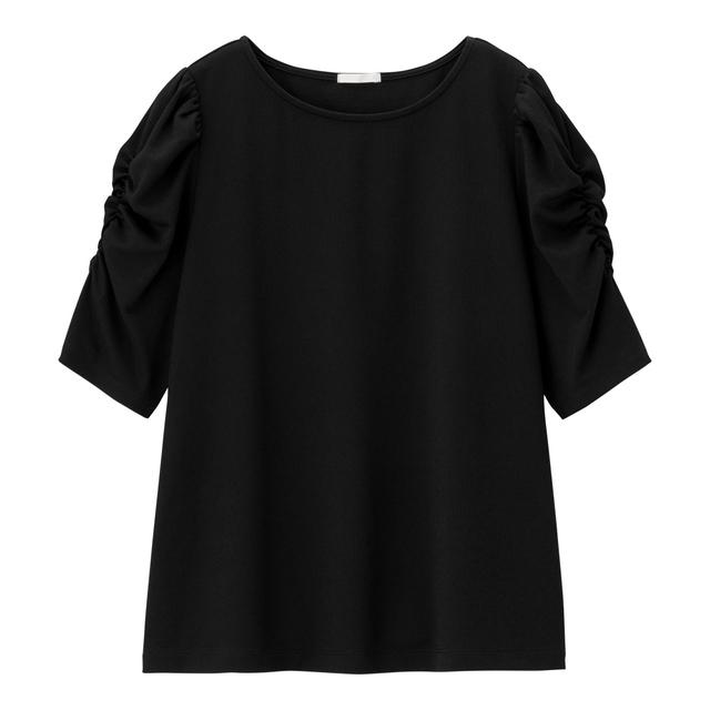 ギャザースリーブT(5分袖)