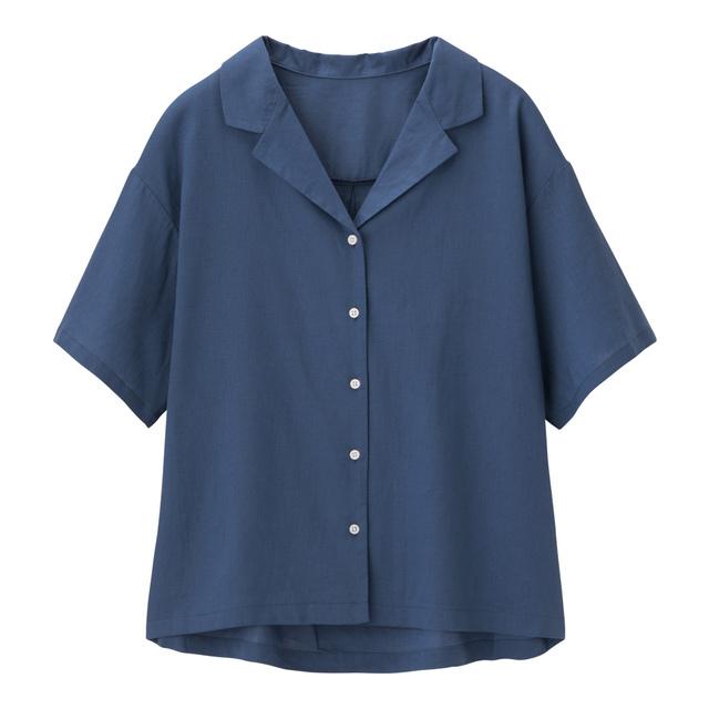 リネンブレンドオープンカラーシャツ(5分袖)