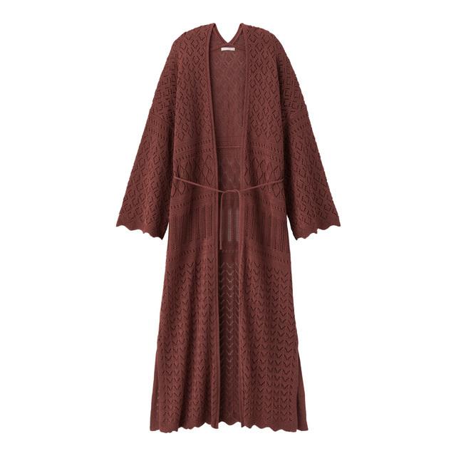 透かし編みロングカーディガン(長袖)
