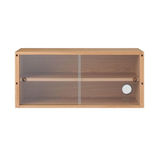 スチールユニットシェルフ用・ボックス・ガラス引き戸・オーク材 幅84.5×奥行38×高さ37cm