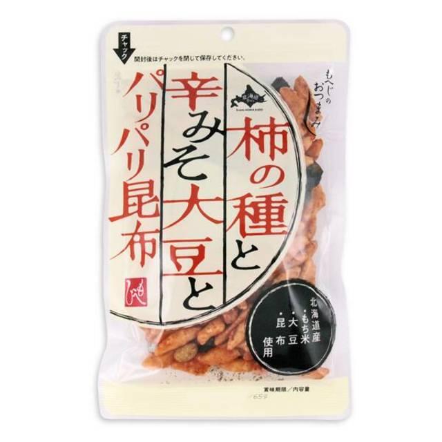 北海道から もへじのおつまみ 柿の種と辛みそ大豆とパリパリ昆布 65g