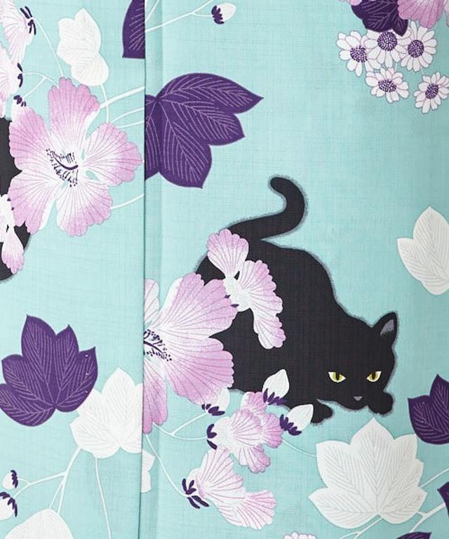 浴衣 単品「芙蓉と猫」