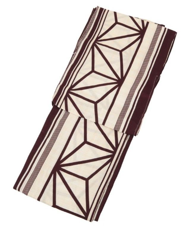 麻の葉古典柄綿麻単品浴衣