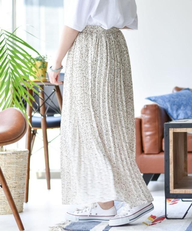 小花柄ロングプリーツスカート