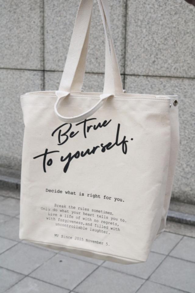 original - logo message 2way tote bag / ivory