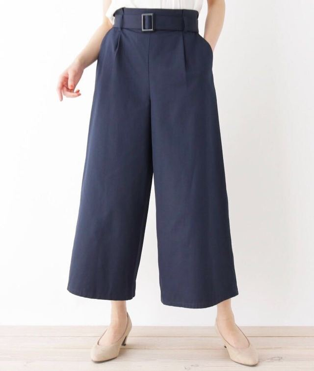 【M-LL】タック共ベルト付きワイドパンツ