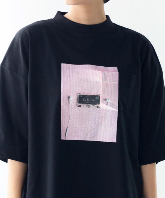 ポケット付き半端袖 前面プリントフォトT・クルーネックTシャツ