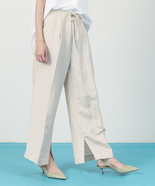 Linen Rayon Wide Pants - GRAY BEIGE
