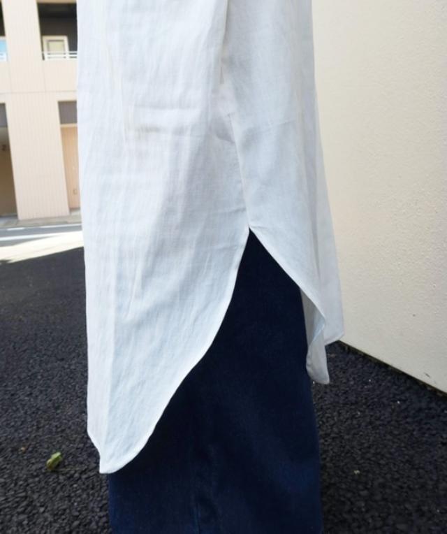 バンドカラー半袖シャツワンピ