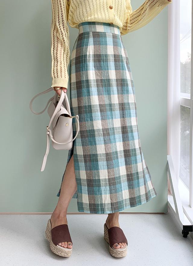 チェックスリットスカート