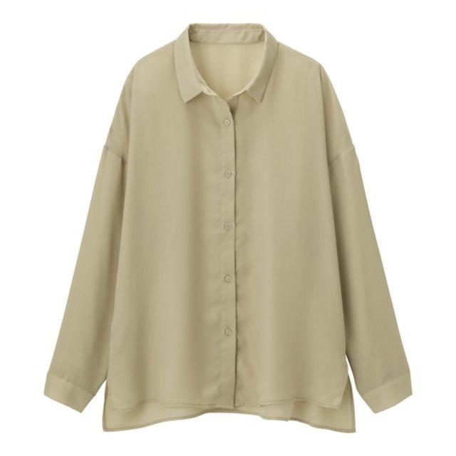 シアーオーバーサイズシャツ(長袖)