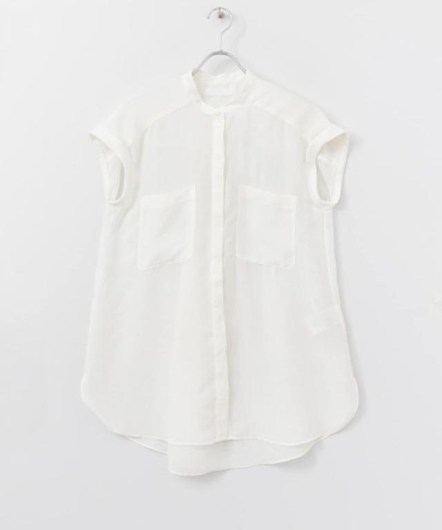 フレンチスリーブバンドカラーシャツ