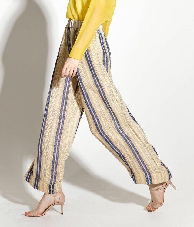 Stripe sheer wide pants【Beige】