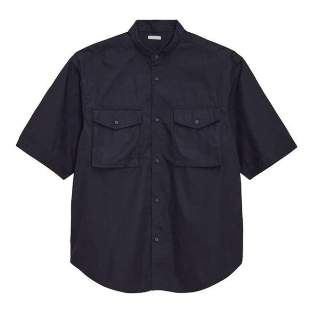 ルーズフィットスタンドカラーシャツ(5分袖)