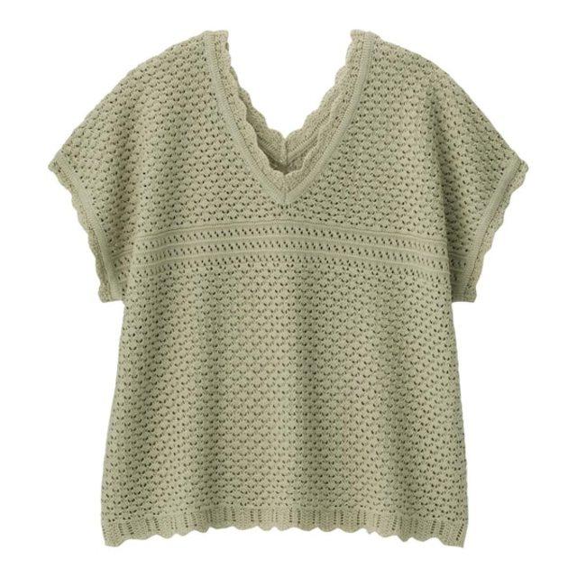 透かし編みVネックセーター