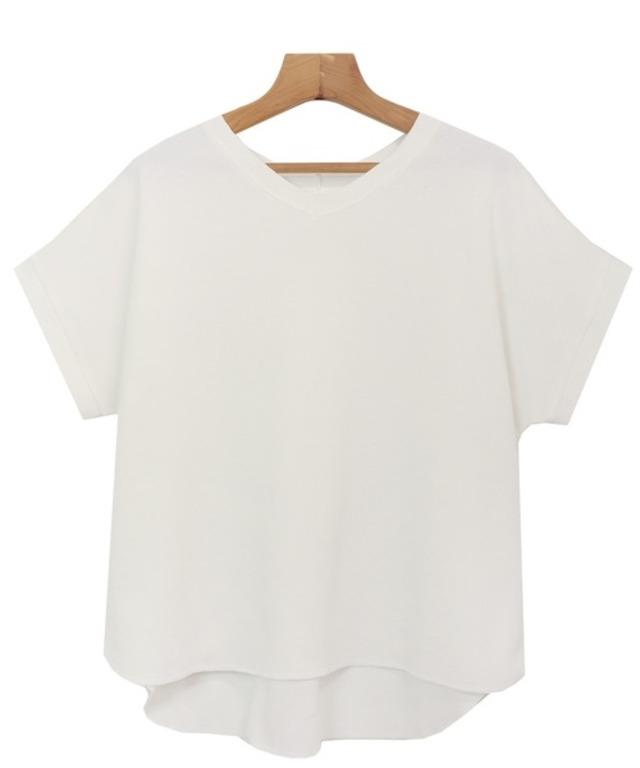 コットンワッフル半袖ドルマン背中タックTシャツ