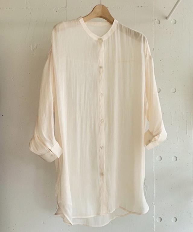 シャイニーオーバーバンドカラーシャツ