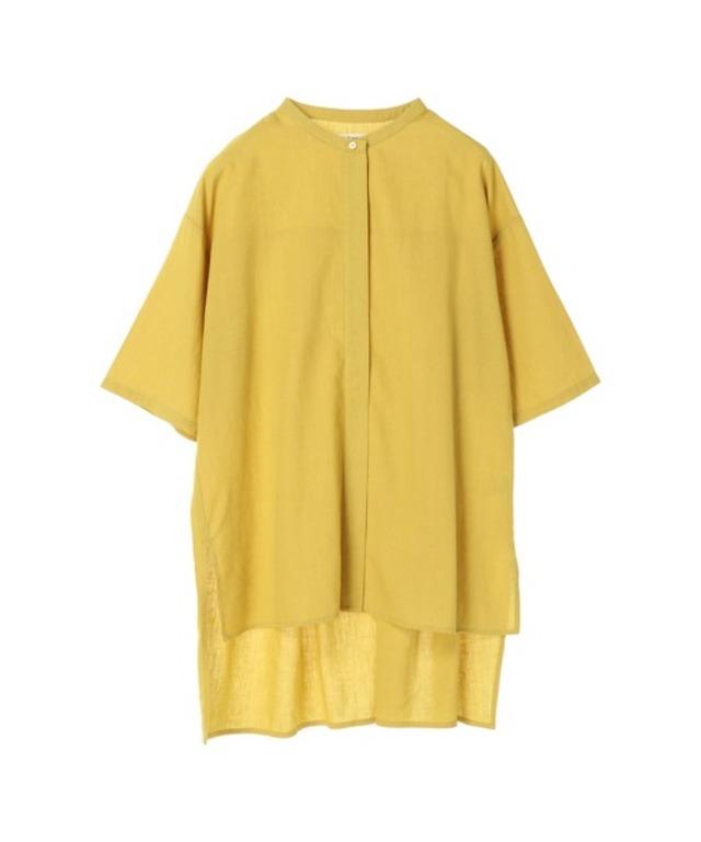 麻レーヨン半袖バンドカラーシャツ