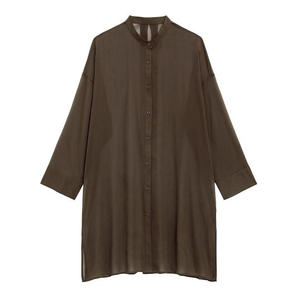 シアーバンドカラーロングシャツ(長袖)Q