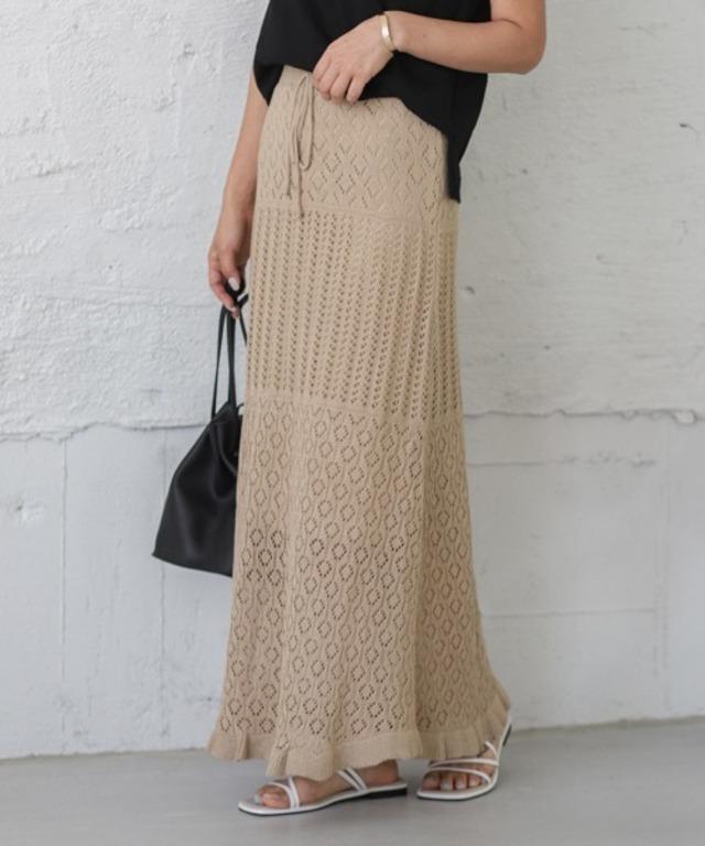透かし編みサマーニットスカート