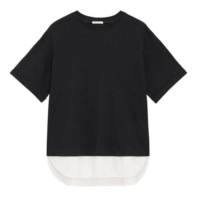 布帛コンビネーションレイヤードプルオーバー(5分袖)Q