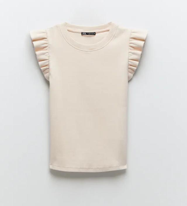 フリル付きユーズド仕上げTシャツ