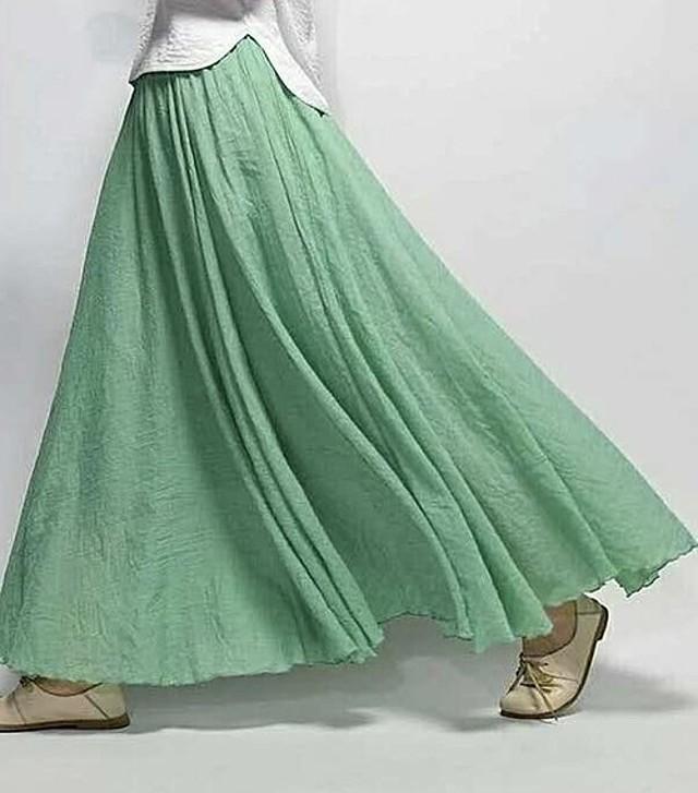 マキシ丈鮮やかスカート