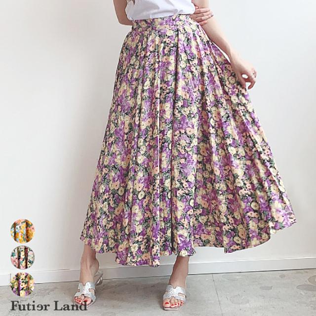 たっぷりフレアのフラワー柄ロングスカート