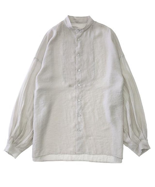 シアーポプリンブザム切替えバンドカラーBigシースルーシャツ