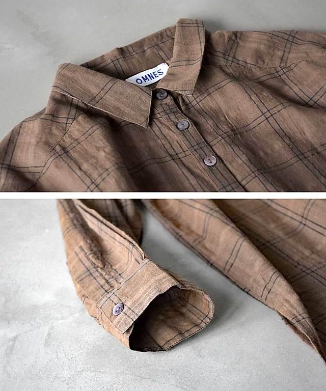 【GINGER 7・8月合併号掲載】【OMNES】シアーチェック ビッグシャツワンピース【1520-9009】
