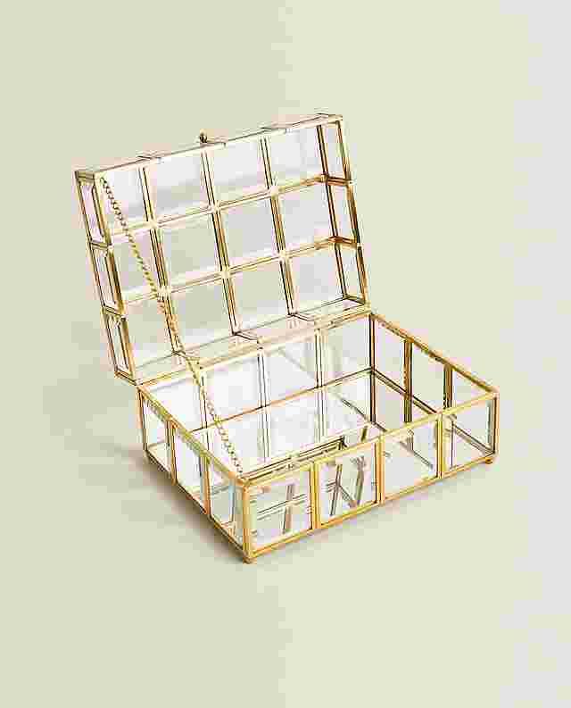 ゴールドメタル&ガラス製ボックス