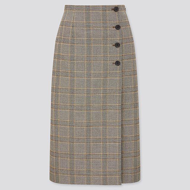 サイドボタンチェックラップスカート(丈標準72~76cm)