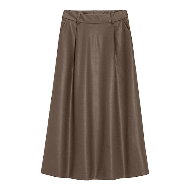 フェイクレザーフレアミディスカート