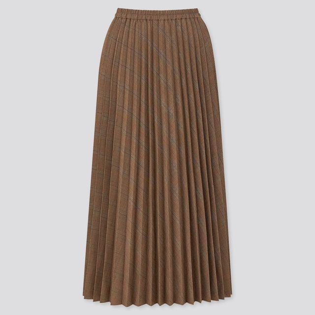 アコーディオンプリーツロングスカート(グレンチェック・丈標準78~82cm)