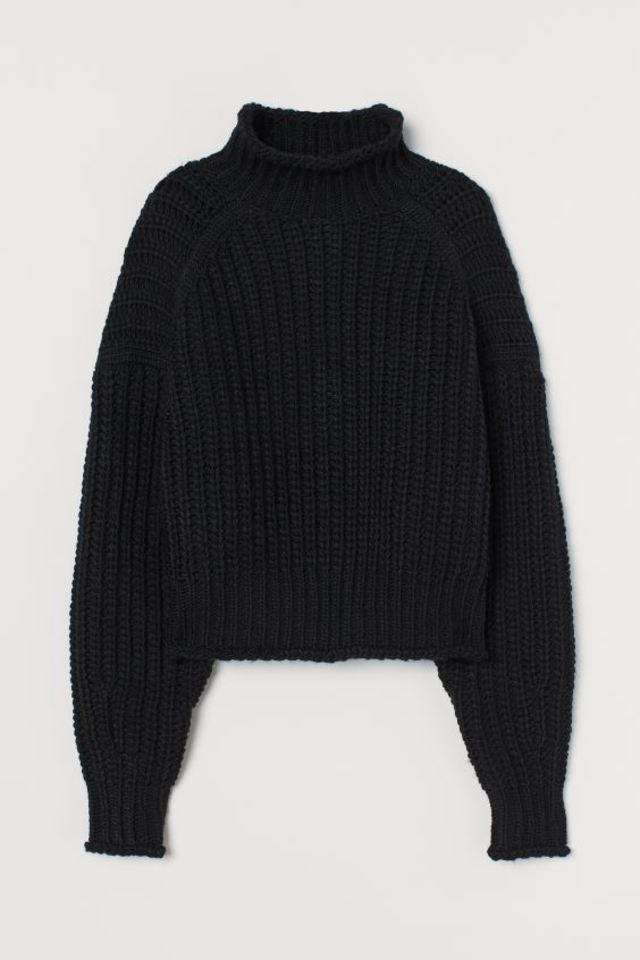リブニットハイネックセーター