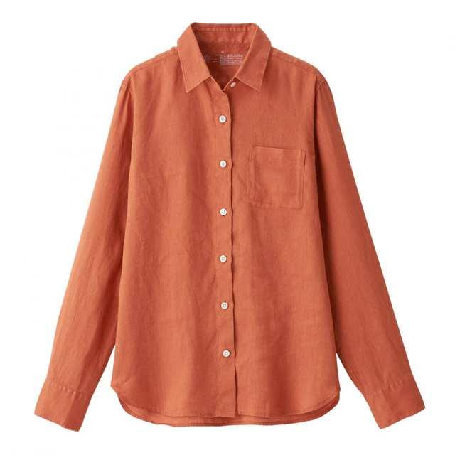 オーガニックリネン洗いざらしシャツ ローズ