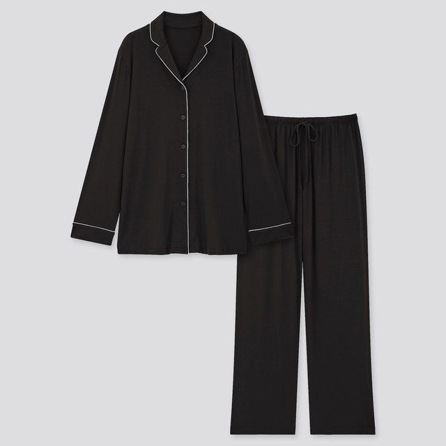 ドレープジャージーパジャマ(パイピング・長袖)