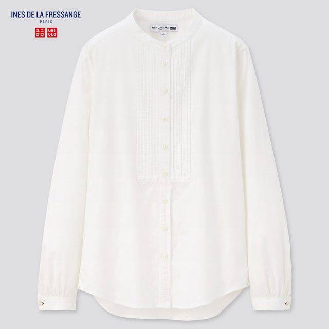 コットンツイルピンタックシャツ(長袖)