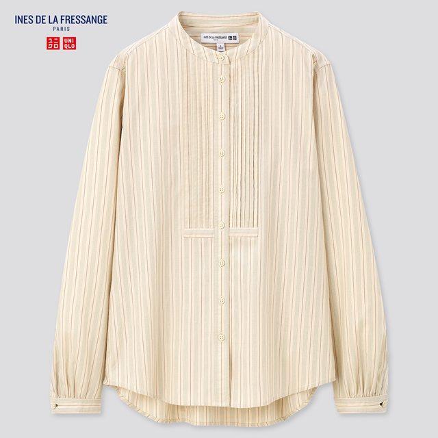 コットンツイルピンタックストライプシャツ(長袖)