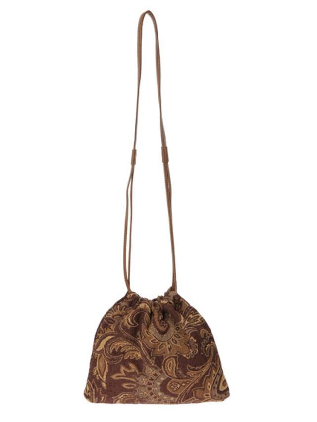 ジャガード巾着ショルダーバッグ