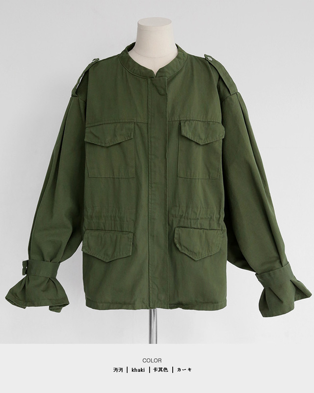 ストラップスリーブミリタリージャケット