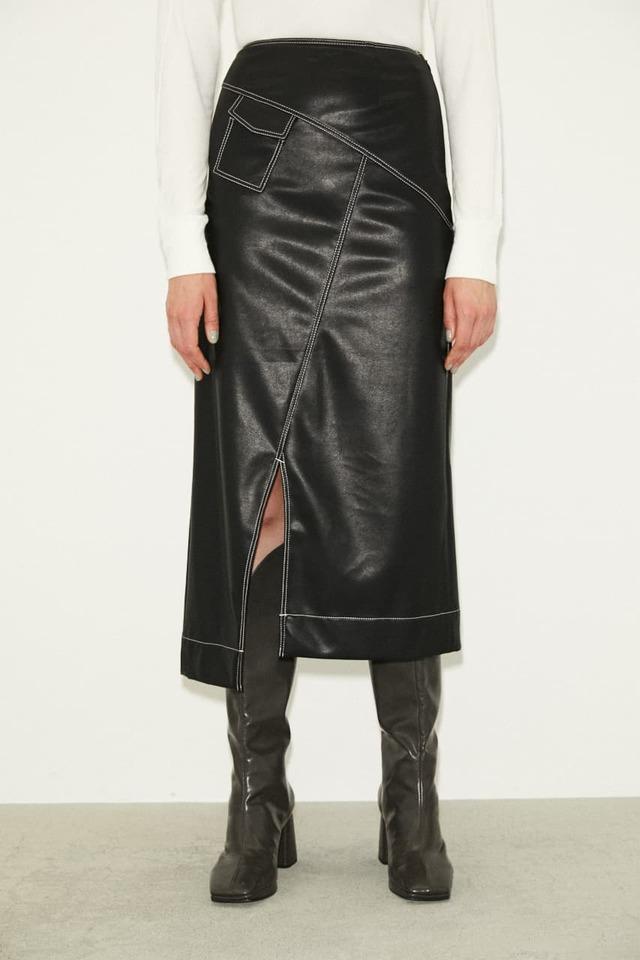 【THROW】VEGAN LEATHER ロングスカート