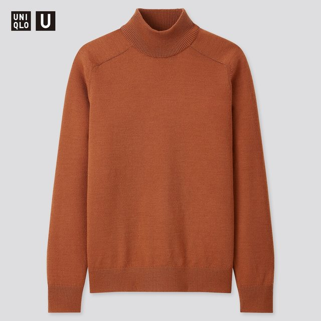 メリノブレンドモックネックセーター