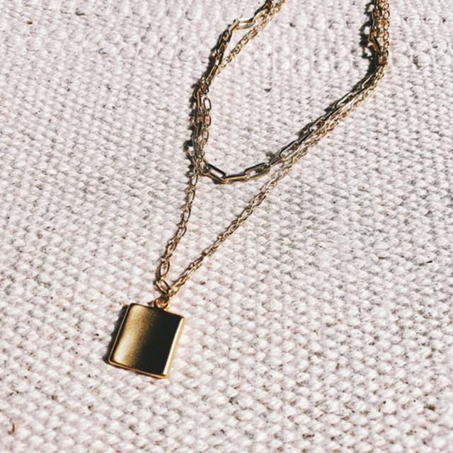Square Charm Double Chain Necklace Set
