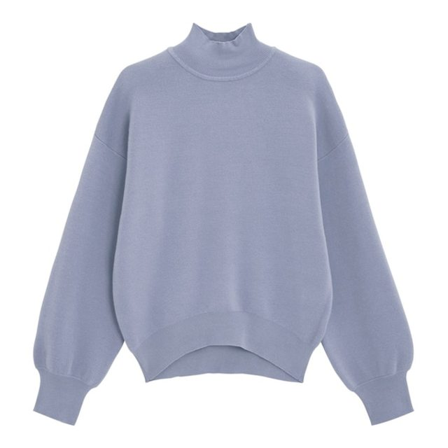 スウェットライクハイネックセーター(長袖)