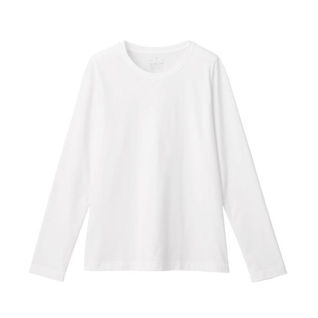 インド綿天竺編みクルーネック長袖Tシャツ