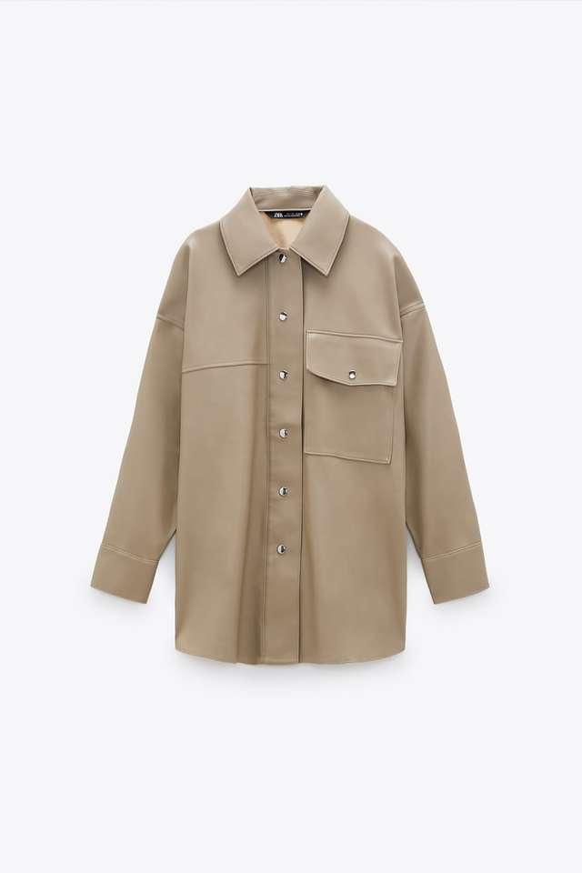 レザー風シャツジャケット