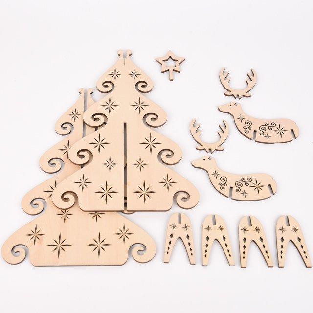 ホワイトクリスマスツリー(木製インテリア)