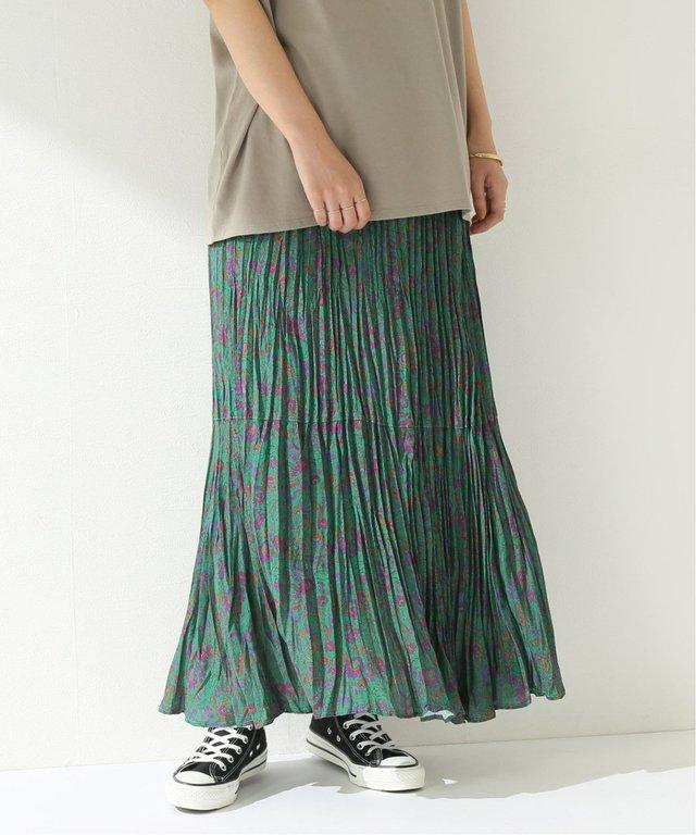 ワッシャープリーツ フレアスカート