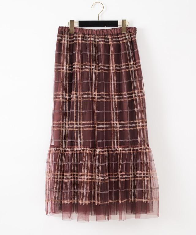 チェック刺繍チュールスカート